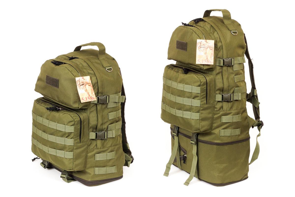 Тактический туристический супер-крепкий рюкзак трансформер 40-60 литров Олива Кордура 500 ден