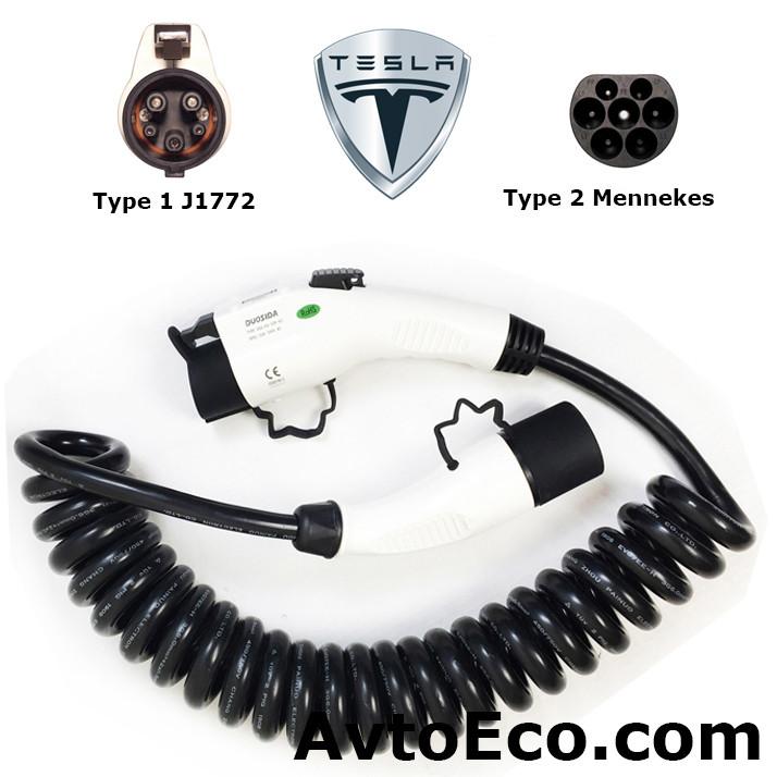 Зарядный кабель Tesla Model S Type1 (J1772) - Type 2 (32A - 5 метров)