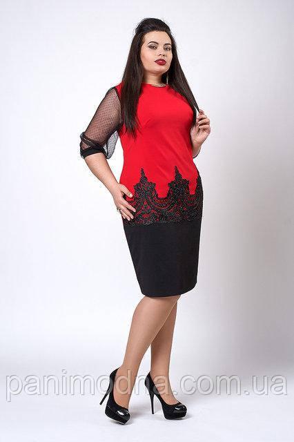 Красное женское нарядное платье  код 558