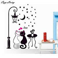 """Интерьерная виниловая наклейка """"Влюблённые котики"""", 3D дизайн комнаты"""