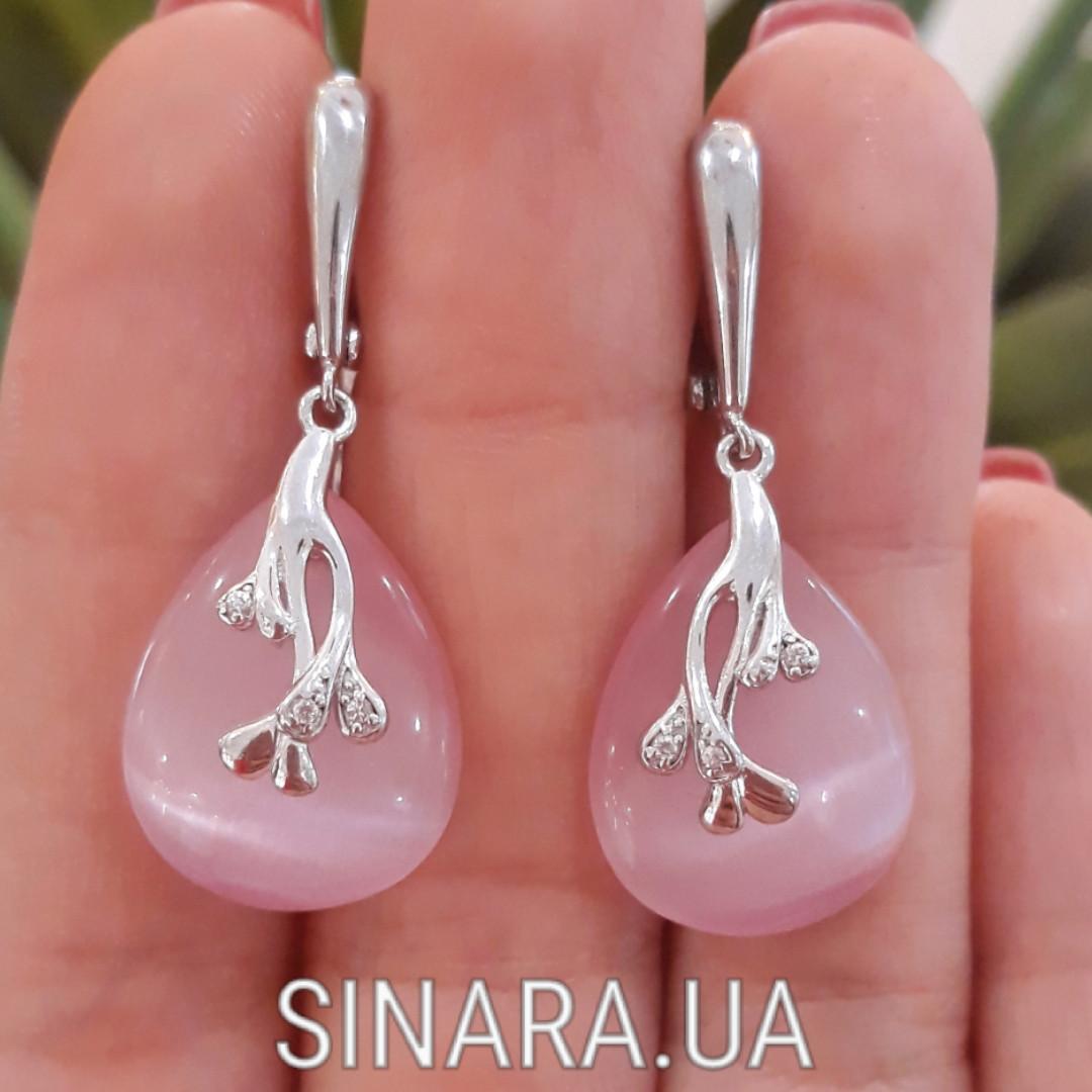 Серебряные серьги с розовым улекситом - Серьги с розовым камнем серебро