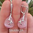 Серебряные серьги с розовым улекситом - Серьги с розовым камнем серебро, фото 3