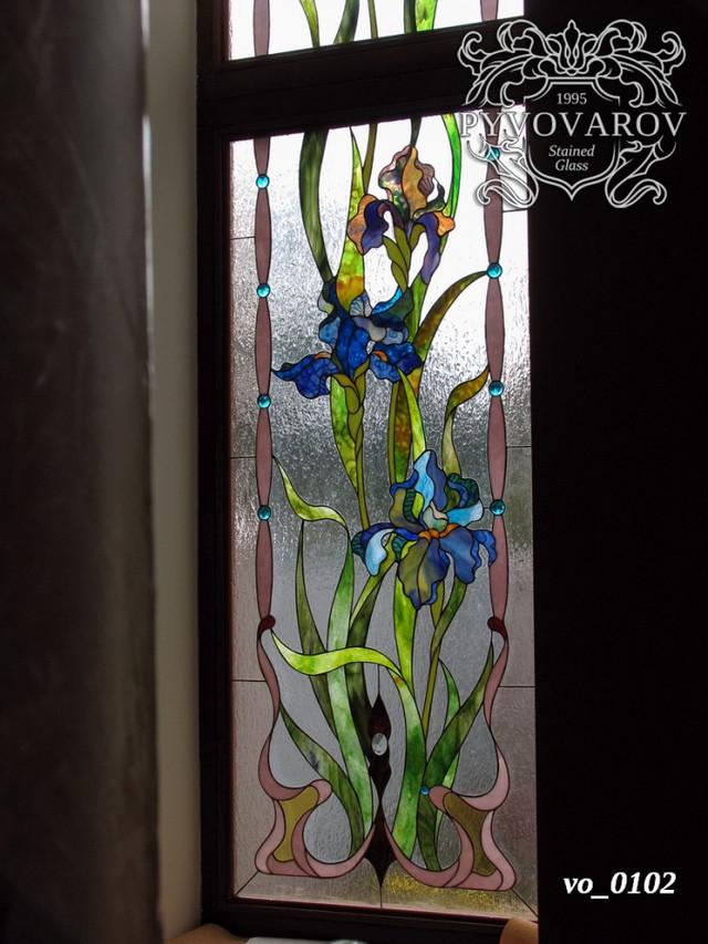 Витраж цветы ирисы Моне