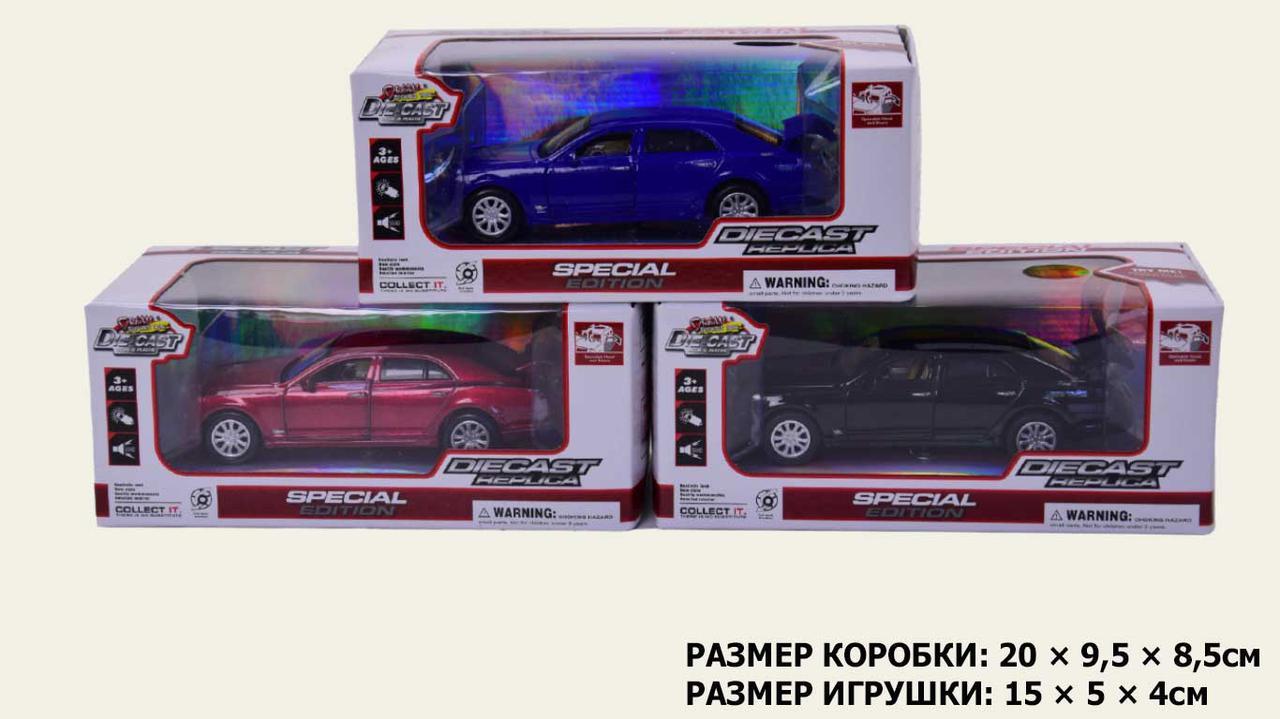 Машина метал.батар 605 , 3 кольори, світло, звук, двері, багажник об., у кор.20*9, 5*8, 5см