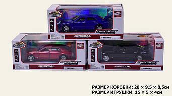 Машина металл.батар 605 , 3 цвета, свет, звук, двери, багажник откр., в кор.20*9, 5*8, 5см