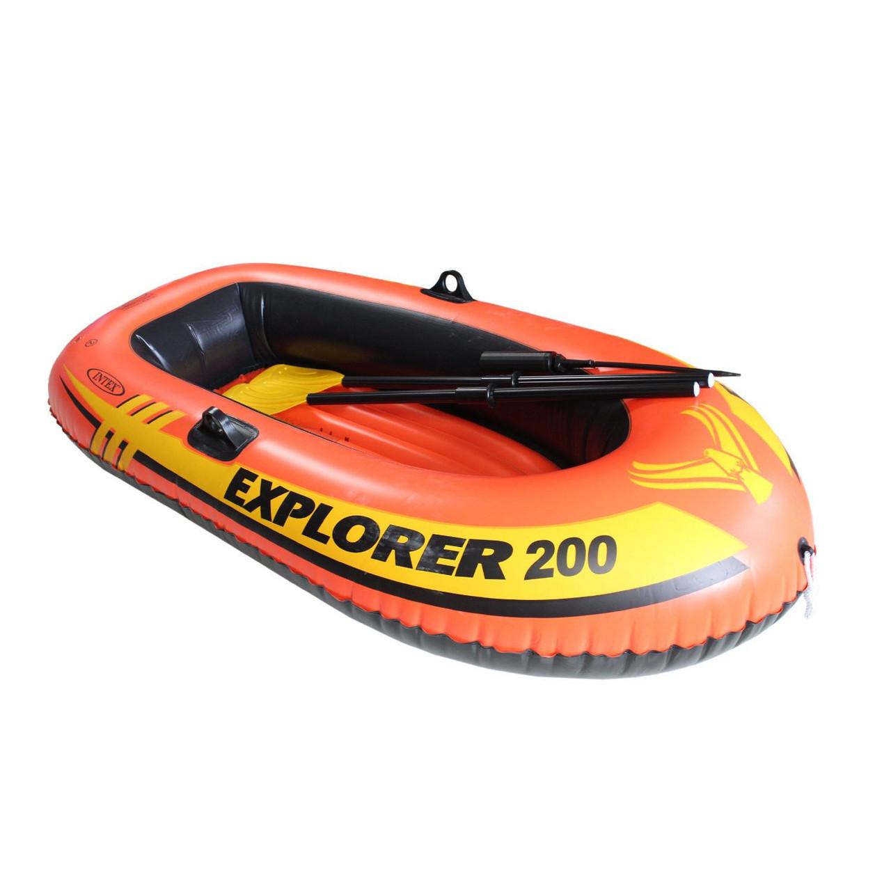 Двухместная надувная лодка lntex + пластиковые весла и мини-ручной насос Explorer 200 185x94x41 cм (58331)
