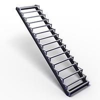 Прямой каркас маршевой лестницы из металла на косоурах. В дом. На второй этаж. Изготовление на заказ