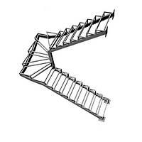 П-образный металлический каркас лестницы с забежными ступенями. В дом. На второй этаж. На заказ