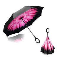 Умный зонт обратного сложения UP-BRELLA - Розовый Цветок, фото 1
