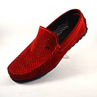 Мужские мокасины красные замшевые с перфорацией Rosso Avangard Special Red Perf, фото 1