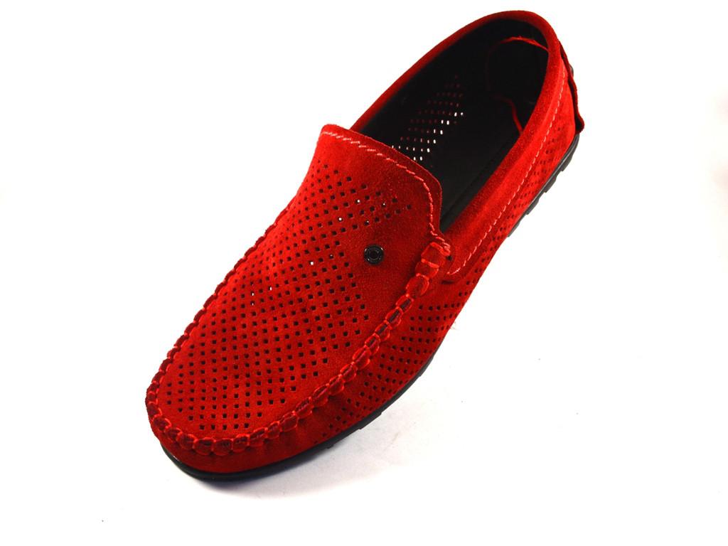 Мокасины красные замшевые летние с перфорацией мужская обувь большой размер Rosso Avangard BS Special Red Perf