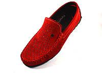 Мокасины красные замшевые летние с перфорацией мужская обувь большой размер Rosso Avangard BS Special Red Perf, фото 1