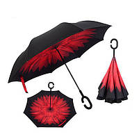 Умный зонт обратного сложения UP-BRELLA - Красный Цветок, фото 1