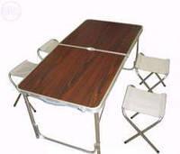Набор туристический складной: стол и 4 стула  (120х60х70 см.) темный