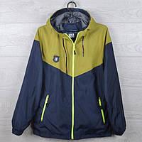 """Куртка-ветровка подростковая """"FIFCeL"""" для мальчиков. 10-15 лет. Темно-синяя+салатовый. Оптом., фото 1"""