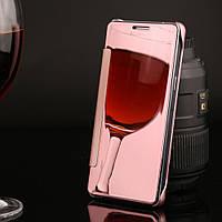Чехол Книжка для Samsung Galaxy A5 2015 A500 зеркальный Mirror Rose