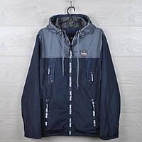 """Куртка-ветровка подростковая """"Classic"""" для мальчиков. 10-15 лет. Темно-синяя+серый. Оптом., фото 1"""