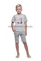 Піжама дитяча ELLEN для хлопчика шорти+футболка Сіра Смужечка 022 001 d935a13af4685