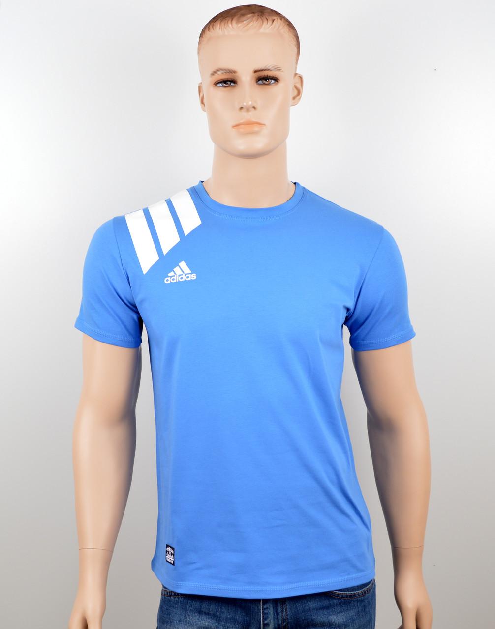 """Мужская футболка """"Adidas 18021"""" св.синий"""