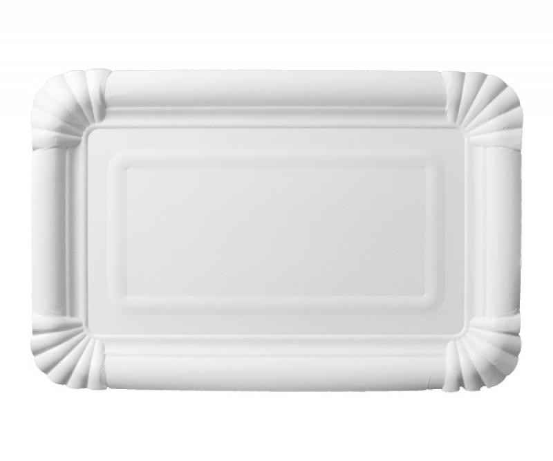Тарелка-поднос бумажная белая 13*20см уп 250шт