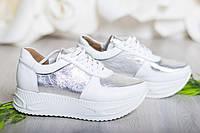 Кроссовки на платформе белые с серебром натуральной кожа