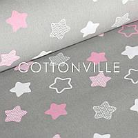 ✁ Відрізи тканини Прянички рожеві на сірому
