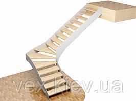 Г-образный металлический каркас лестницы на тетивах. В квартиру. На 2 этаж. Изготовление на заказ
