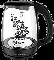 Электрический стеклянный чайник дисковый liberton LEK-1703, фото 1