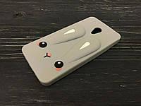 Резиновый 3D чехол Rabbit для Meizu M5c серый