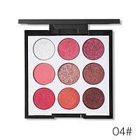 Палетка теней с шиммером Novo 9 Colors Eyeshadow Palette Peach 04, фото 1