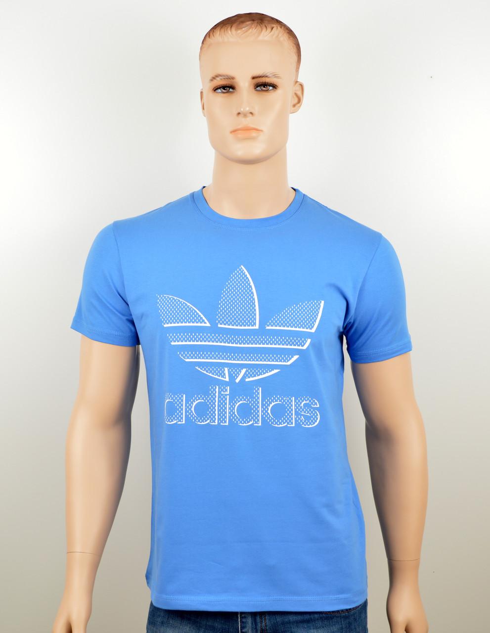 """Мужская футболка """"Adidas 18023"""" св.синий"""