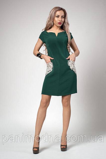 Модное Платье с кружевными карманами 42. 44. 46. 48