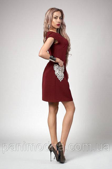 Модное Платье с кружевными карманами Бордо 42. 44. 46. 48