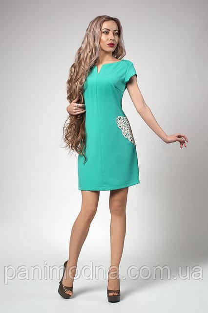 Мятное Платье с кружевными карманами макраме 42. 44. 46. 48