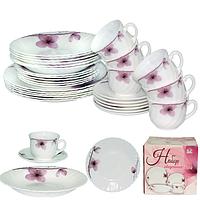 Набор обеденный 30пр. Орхидея (тарелки-7,5' и 9,5'; тарелка суп.-8,5'; чашка-220мл; блюдце-13,5см