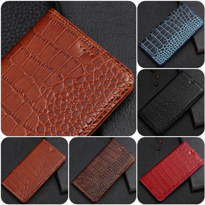 """ASUS ZenFone Max Pro M2 оригинальный кожаный чехол книжка из натуральной кожи магнит противоудар """"CROCO GOLD"""""""