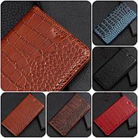 """ASUS ZenFone Max M2 оригинальный кожаный чехол книжка из натуральной кожи магнитный противоударный """"CROCO GOLD"""