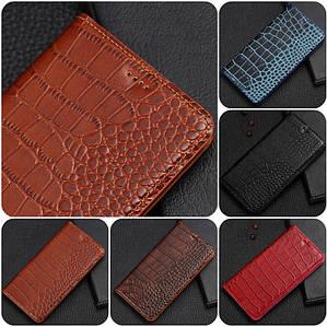 """Huawei NOVA оригинальный кожаный чехол книжка из натуральной кожи магнитный противоударный """"CROCO GOLD"""""""