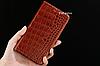 """HONOR 7 оригинальный кожаный чехол книжка из натуральной кожи магнитный противоударный """"CROCO GOLD"""", фото 3"""
