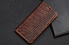 """HONOR 8 оригинальный кожаный чехол книжка из натуральной кожи магнитный противоударный """"CROCO GOLD"""", фото 5"""