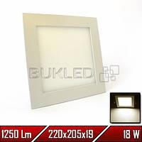 Светильник LED врезной квадратный, 220 В, 18 Вт, Теплый Белый