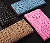 """LG V35 ThinQ оригинальный кожаный чехол книжка из натуральной кожи магнитный противоударный """"3D CROCO S"""", фото 5"""