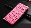 """LG V35 ThinQ оригинальный кожаный чехол книжка из натуральной кожи магнитный противоударный """"3D CROCO S"""", фото 9"""