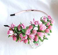 """Обруч для волос """"Розовые тюльпаны"""""""