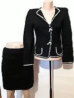 Костюм вязаный юбка и жакет пиджак