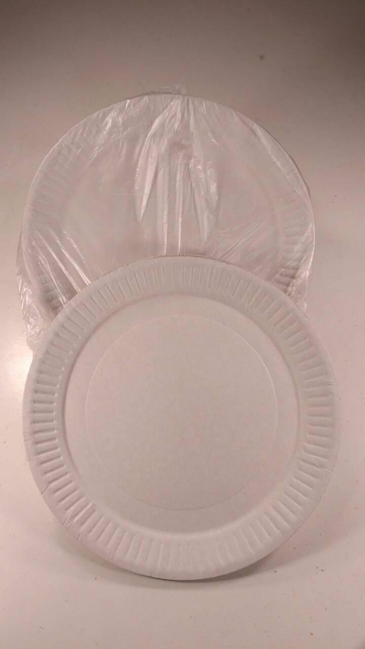 Тарелки бумажные белые 210мм, 100 шт/пач