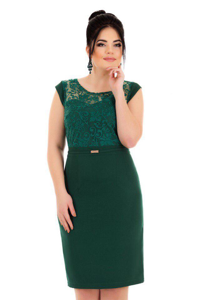 Е8003 Платье с коротким рукавом и кружевом 50-54