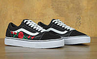 Женские кеды Vans Old Skool Roses Black, фото 1
