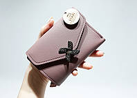 Маленький женский кошелек тройного сложения, тускло розовый