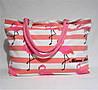 Пляжная сумка из ткани розовая полоска WMT-976328